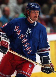 Wayne Gretzky New York Rangers action hšjd portrŠtt